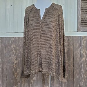 Free People brown v neck knitted blouse size M